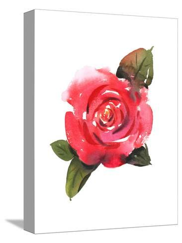 Painted Red Rose with Leaves--Stretched Canvas Print