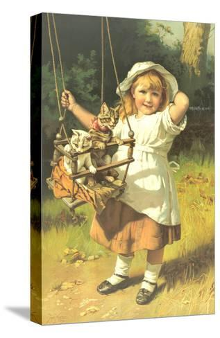 Painting of Little Girl Holding Swing with Kitties--Stretched Canvas Print