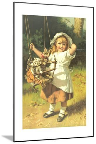 Painting of Little Girl Holding Swing with Kitties--Mounted Art Print