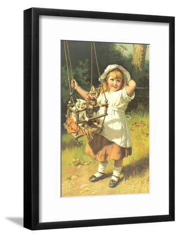 Painting of Little Girl Holding Swing with Kitties--Framed Art Print