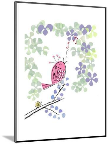 Pink Bird Singing on Flowery Branch--Mounted Art Print