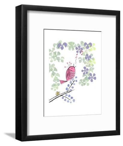 Pink Bird Singing on Flowery Branch--Framed Art Print