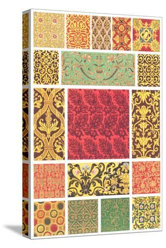 Book Pattern of Different Designs in Each Square--Stretched Canvas Print