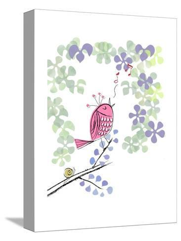 Pink Bird Singing on Flowery Branch--Stretched Canvas Print
