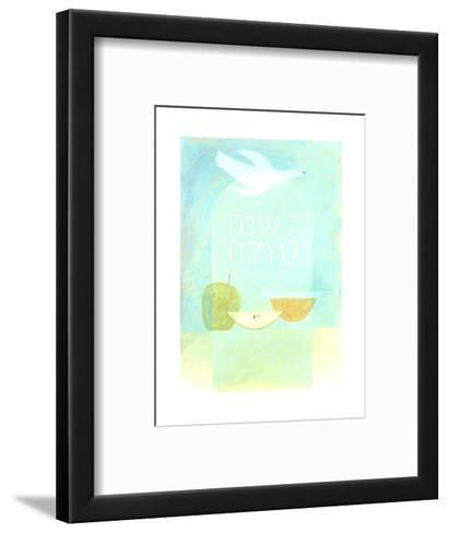 Dove, Fruit, and Hebrew Lettering--Framed Art Print