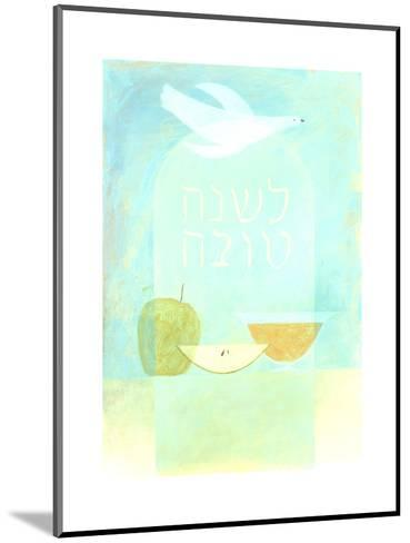 Dove, Fruit, and Hebrew Lettering--Mounted Art Print