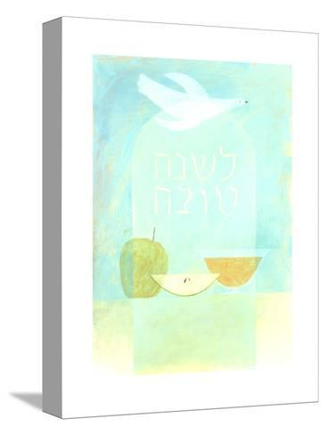 Dove, Fruit, and Hebrew Lettering--Stretched Canvas Print