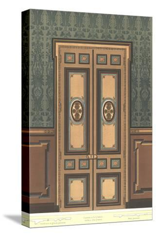 Paneled Door with Stylized Floral Decorations on Dark Wall--Stretched Canvas Print