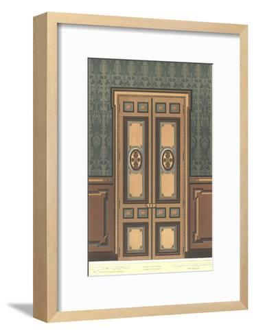 Paneled Door with Stylized Floral Decorations on Dark Wall--Framed Art Print