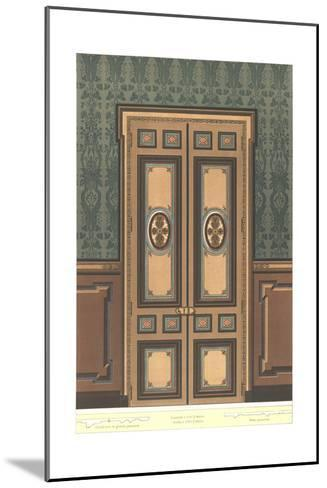 Paneled Door with Stylized Floral Decorations on Dark Wall--Mounted Art Print