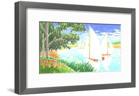 Group of White Sailboats on Small Lake Next to Trees--Framed Art Print