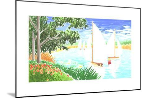 Group of White Sailboats on Small Lake Next to Trees--Mounted Art Print