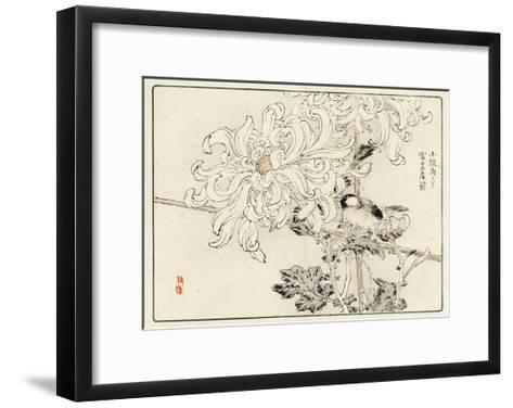 Stylized White Chrysanthemum with Perched Bird--Framed Art Print