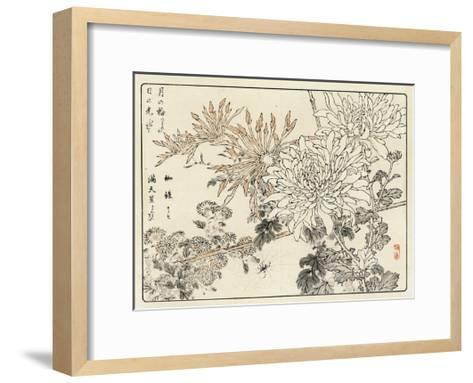 Stylized Chrysanthemums with Spider and Web--Framed Art Print