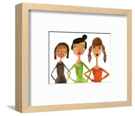 Trio of Ladies with Hands on Hips--Framed Art Print