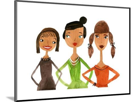 Trio of Ladies with Hands on Hips--Mounted Art Print