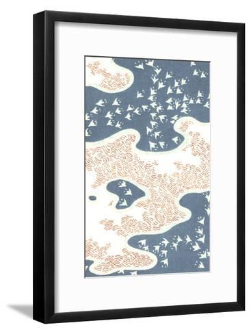 Aerial View of Stylized Birds with Island and Hatch Marks--Framed Art Print