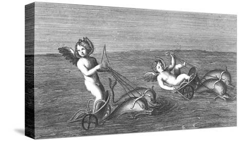 Black and White Textured Illustration of Cherubs Riding Dolphins--Stretched Canvas Print