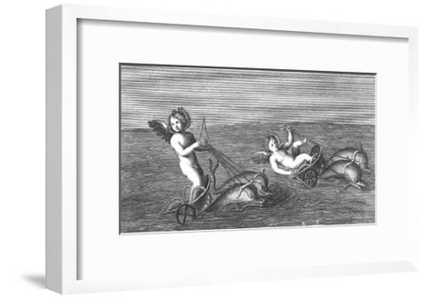 Black and White Textured Illustration of Cherubs Riding Dolphins--Framed Art Print
