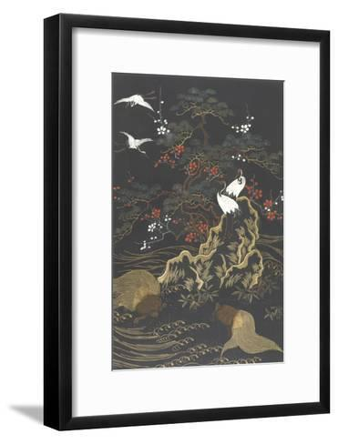 Stylized Cypress Tree with Whooping Cranes on Dark Background--Framed Art Print