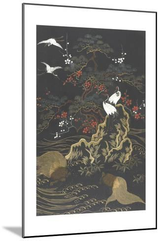 Stylized Cypress Tree with Whooping Cranes on Dark Background--Mounted Art Print