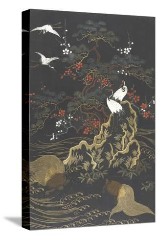 Stylized Cypress Tree with Whooping Cranes on Dark Background--Stretched Canvas Print