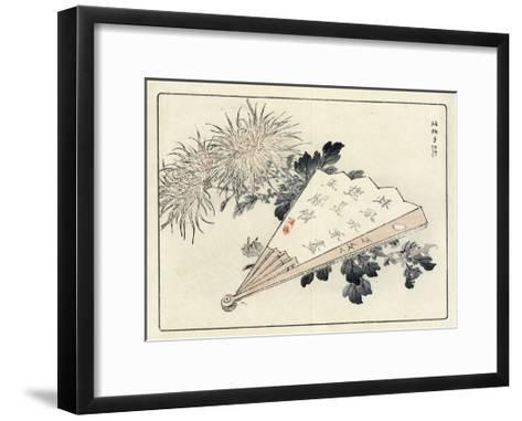 Japanese Fan with Asian Symbols and Flowers--Framed Art Print