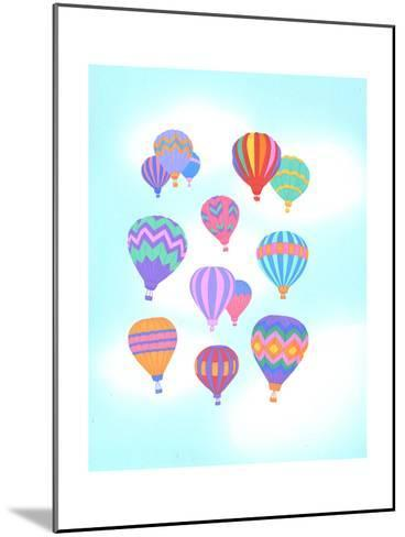 Multiple Bright Colored Hot Air Balloons Flying Through Sky--Mounted Art Print