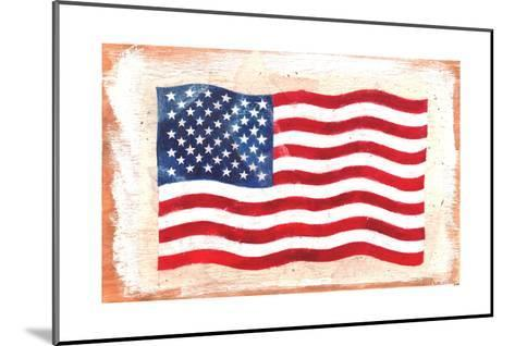 Waving American Flag Painted onto a Piece of Wood--Mounted Art Print