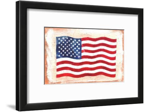 Waving American Flag Painted onto a Piece of Wood--Framed Art Print