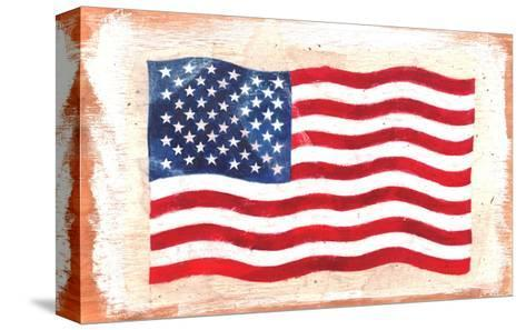 Waving American Flag Painted onto a Piece of Wood--Stretched Canvas Print