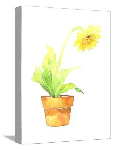 Watercolor Sunflower in Clay Pot--Stretched Canvas Print