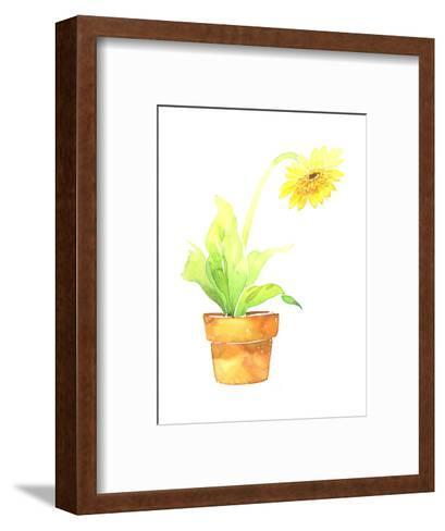 Watercolor Sunflower in Clay Pot--Framed Art Print