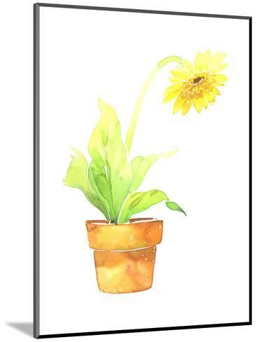 Watercolor Sunflower in Clay Pot--Mounted Art Print