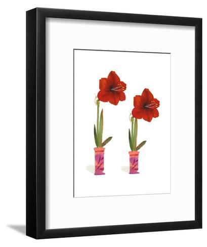 Watercolor of Two Amaryllis Plants in Vases--Framed Art Print