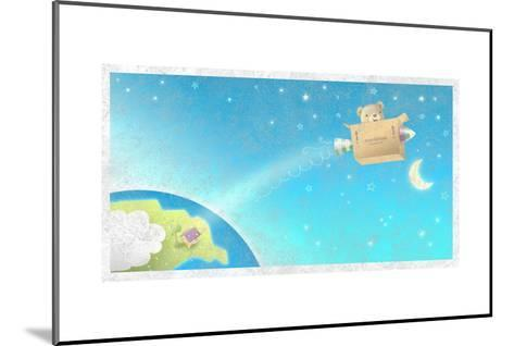 Bear Flying Through Sky in His Rocket--Mounted Art Print