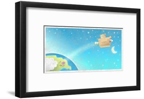 Bear Flying Through Sky in His Rocket--Framed Art Print