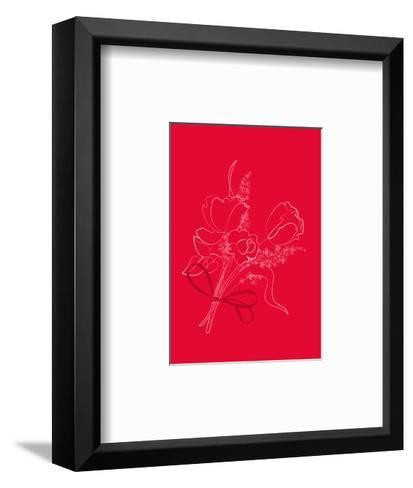 Graphic Outline of Bouquet on Bright Red--Framed Art Print