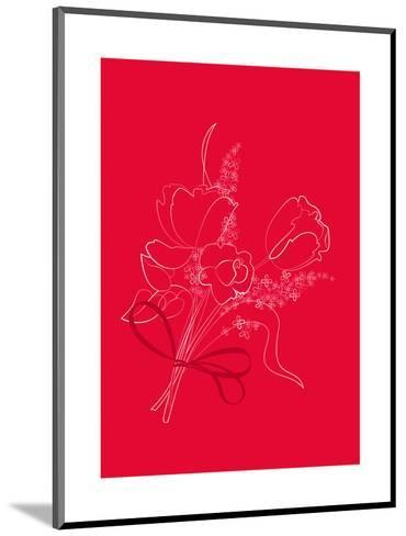 Graphic Outline of Bouquet on Bright Red--Mounted Art Print