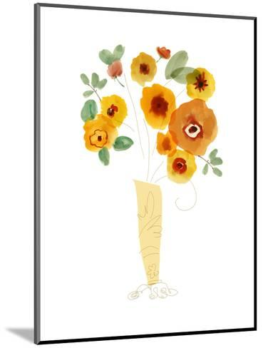 Orange Flowers in a Vase--Mounted Art Print