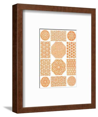 Multiple Geometric Patterns in Orange--Framed Art Print