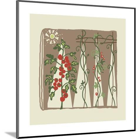 Garden with Tomato Plant and Trellis with Flowering Vines--Mounted Art Print