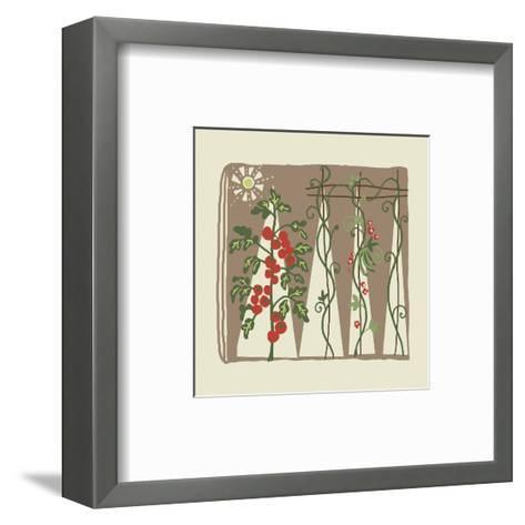 Garden with Tomato Plant and Trellis with Flowering Vines--Framed Art Print