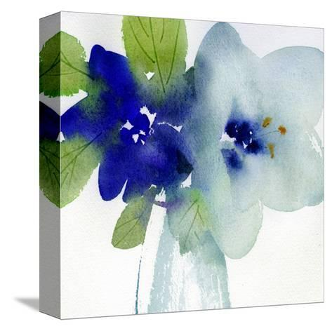 Watercolor Close-Up of Flowers with Leaves--Stretched Canvas Print