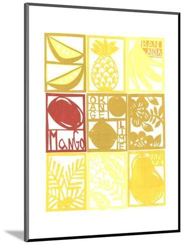 Cut Paper Tropical Fruits and Plants in a Grid--Mounted Art Print