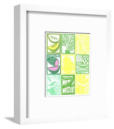 Stenciled Rectangles Containing Fruit, Flowers, and Cucumber Lettering--Framed Art Print