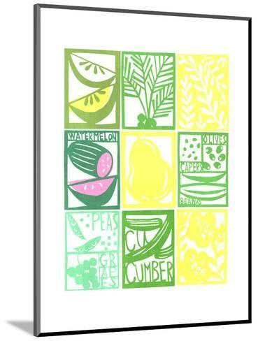 Stenciled Rectangles Containing Fruit, Flowers, and Cucumber Lettering--Mounted Art Print