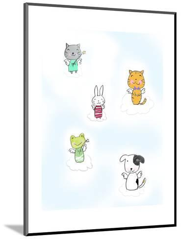 Kittens, Rabbit, Frog, and Dog on Clouds with Angel Wings--Mounted Art Print