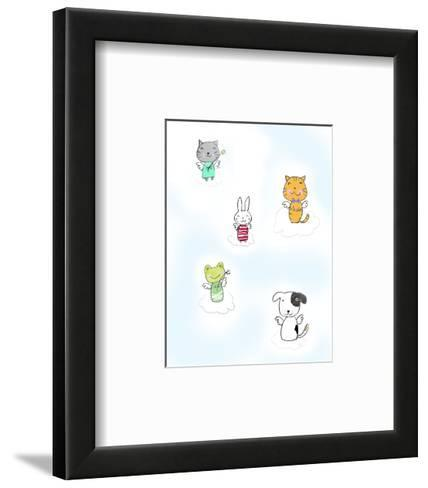 Kittens, Rabbit, Frog, and Dog on Clouds with Angel Wings--Framed Art Print