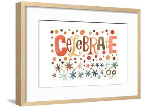 Celebrate Lettering with Star and Dot Pattern--Framed Art Print